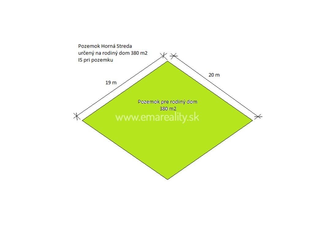 Pozemok Horná Streda, pre rodiný dom, 380 m2